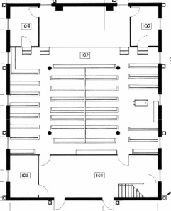 Main floor plan, Beaverdams Church, Marlatts Road, Thorold (courtesy of Shoalts Engineering, November 2013)