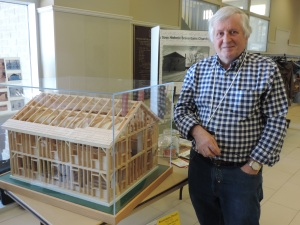Alan Daniels stands beside his model of the church in NOTL 1 May 2015 (courtesy of George Rust-D'Eye)